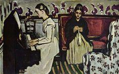 Paul Cézanne.  Mädchen am Klavier. Um 1866, Öl auf Leinwand, 57 × 92 cm. St. Petersburg, Eremitage. Frankreich. Postimpressionismus.  KO 01125