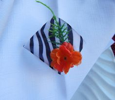 NAPKIN RINGS Black and White Orange Floral by ModernClassicbyCarol