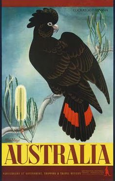 Two striking posters of Australian birds by the late artist and designer Dame Eileen Mayo look set to be star attractions at a London auction this week.   The two lots at the Christie's sale of vintage travel posters feature the Banksian cockatoo and the emu