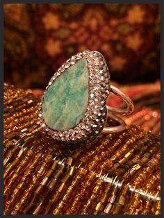 Gemstone and crystal Artisan ring  on Etsy, $99.00