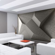 Details about Wallpaper white gray silver metallic modern lines Textured Wall coverings rolls - Walls Interior Walls, Home Interior Design, Interior Architecture, Living Room Designs, Living Room Decor, Wall Design, House Design, Wall Wallpaper, Photo Wallpaper