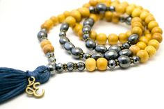 Yellow Wood Mala Beads by Shanti Presence