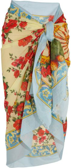 Dolce & Gabbana Printed Cotton Sarong in Multicolor (Yellow) - Lyst