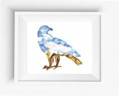 American Eagle Prints,Watercolor Eagle,Silhouette of a Eagle,mountain, sky, clouds, sun,digital prints,instant download,home decor