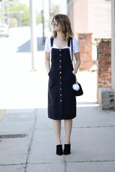 Playing in a pinafore dress on skirtsofurban.com! #skirtsofurban #pinafore #overalldress #casual