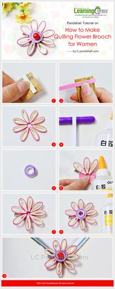 Pandahall Tutorial on How to Make Quilling Flower Brooch for Women