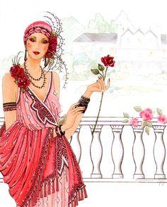 roses and beauty Estilo Art Deco, Arte Art Deco, Art Deco Illustration, Illustrations, Vintage Images, Vintage Art, Vintage Ladies, Art Nouveau, Art Deco Cards