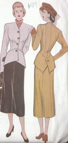 Retro Pattern 1948 Misses Suit Jacket and Skirt Size 18 to 22 Uncut 1999. $7.49, via Etsy.