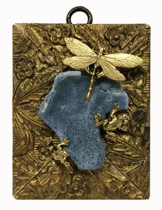 Museum Bees by Trace Mayer.  Made with Antique American Frame.  Gilt Brass Dragonfly, Frogs, and Coral.