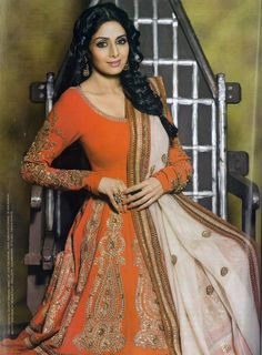 Sridevi in a beautful orange and white suit