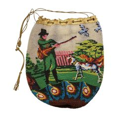 French 19th Century Beadwork Drawstring Purse Reticule Dog & Figural from trinityantiques on Ruby Lane leather interior  bead work on netting  size 7x6 inches