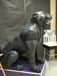 Paper Mache Panther Mascot, Side View - found my project for art club