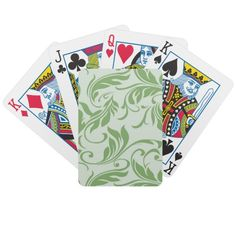 Cute Floral Green Swirl Playing Cards.