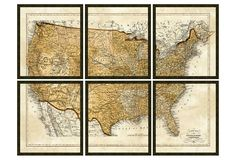 United States map - split in 6 pieces, vintage print gallery.  I can do this with any poster!