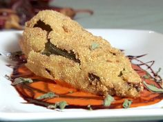 Eggplant and Manchego Filled Chile Relleno with Red Pepper-Balsamic Sauce Recipe : Bobby Flay : Food Network Chili Relleno, Beer Batter, Stuffed Poblano Peppers, Mexican Food Recipes, Vegetarian Recipes, Spanish Recipes, Mexican Dishes, Vegetable Recipes, Sauce Recipes