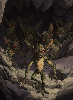 Gremlins by kikicianjur ~ Monster. Roguish Monsters. Mythology. Mischievous Creatures.