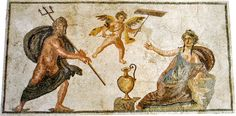 Neptune and Amymone, a second-century Roman mosaic from the house of Dionysus, Paphos, Archaeological Park; the Roman sea god is shown with his symbolic attribute, a fisherman's trident. (ancientrome.ru)