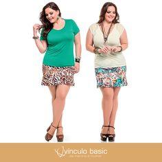 Dois looks, a mesma composição: blusa lisa da linha Basic's e saia com estampa incrível da coleção plus size da Vínculo Basic.   Qual o seu preferido?  http://vinculobasic.com.br/  #vinculobasic #verao2016Moda