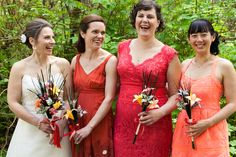 bridesmaids laughing, orange bridesmaids dresses, casual bridesmaid photography, JayLee Photography