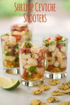 This quick and simpleShrimp Ceviche is the perfectappetizer for your next  summer party. Pro-tip:Serve it up in shot glasses for easy serving along  with a side of Masa Crisps!