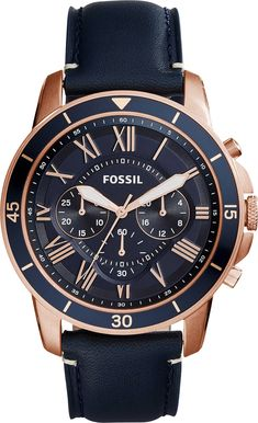 Model No: FS5237  Brand Fossil Collection Grant Features 24h Indicator, Chronograph, Minutes, Small Seconds, Unidirectional Rotating Bezel Case Size 44 mm    Case Shape Round Case Material Steel & Rose Gold PVD Movement Quartz Strap Material Leather Strap Colour Blue Dial Colour Blue Gender Men Water Resistance (M) 50 Glass Material Mineral Crystal Warranty Period 2 Years
