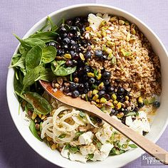 Farro Fruit Salad - Fruit salad has never been so trendy, thanks to pistachios and healthy grains like farro. Dress the make-ahead blueberry salad in its finest: a tart and tangy DIY dressing. Grab a Mason jar and get shaking. Potluck Recipes, Summer Recipes, Salad Recipes, Cooking Recipes, Healthy Recipes, Potluck Ideas, Meal Ideas, Easy Recipes, Dinner Ideas
