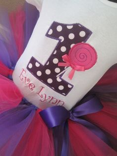 Personalized Pink and Purple Lollipop Birthday Tutu Outfit