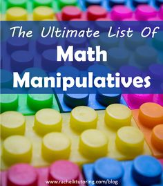 What are math manipulatives? These are objects that students can use to learn math concepts in a hands-on and interactive way. This is a great list of manipulatives! Math Teacher, Math Classroom, Teaching Math, Teaching Ideas, Classroom Ideas, Kindergarten Math, Fun Math, Math Games, Math Activities