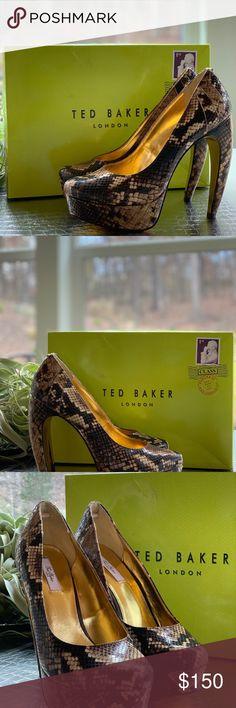336a8249de4c67 Ted Baker Snake SAWP Curved Heel Platforms Dark brown Ted Baker Banana heel  platforms Size  US Ted Baker London Shoes Heels