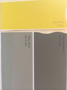 Exterior colors: Sherwin Williams svelte sage 6164, connected gray 6165, white trim and a bright yellow door! Yellow is daisy 6910