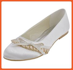 Minishion MZ596 Womens Round Toe Ruched Bridal Wedding Party Evening Ivory Satin Flats Shoes 6.5 M US - Flats for women (*Amazon Partner-Link)
