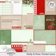Free Holly and Pine Pocket Love Journal Cards from Mistyhilltops Christmas Journal, Christmas Scrapbook, Christmas Projects, Printable Cards, Printable Planner, Planner Stickers, Free Printables, Life Journal, Journal Cards