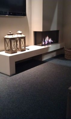 Fireplace Tv Wall, Fireplace Remodel, Modern Fireplace, Fireplace Design, Living Tv, Home Living Room, Living Room Decor, Open House Plans, Building A New Home