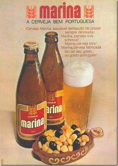 Marina - Old Portuguese beer Posters Vintage, Vintage Advertising Posters, Food Advertising, Vintage Advertisements, Vintage Ads, Pin Up Retro, Retro Ads, Beer Advertisement, Old Scool