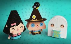 PAPERMAU: Halloween Special - Candy Corn Citizens - Scarecrow, Werewolf And Ghost Paper Toys - by Dewmuffins