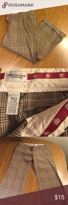 American Eagle dress pant capris American Eagle dress pant capris size 6 brown and tan.   😊 all reasonable offers accepted ❓feel free to ask any questions 🚭 smoke free home 🌀 bundle and save 💸 🙌🏼 thanks so much for stopping by 💜 happy poshing 💖 American Eagle Outfitters Pants Capris