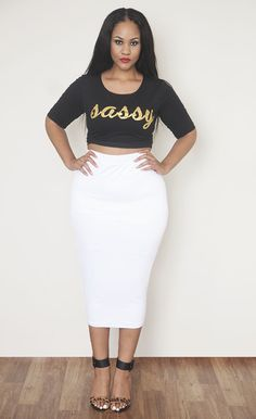 White Body-Conscious Midi Skirt - Plus Size Fashion