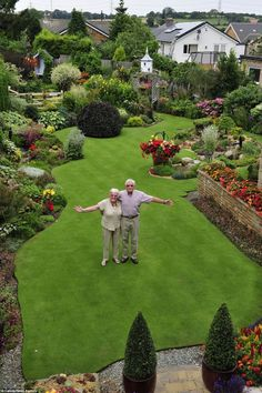 A Gardening Life: They spend 30hrs a week gardening!! - Anne and Stuart Grindle stand on the hallowed turf, proudly showing off their immaculate garden at their home in Rotherham, Yorkshire. #LandscapingPlans