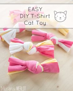 DIY Cat Hacks - Easy DIY T-Shirt Cat Toy - Tips and Tricks Ideas for Cat Beds and Toys, Homemade Remedies for Fleas and Scratching - Do It Yourself Cat Treat Recips, Food and Gear for Your Pet - Cool Gifts for Cats http://diyjoy.com/diy-cat-hacks