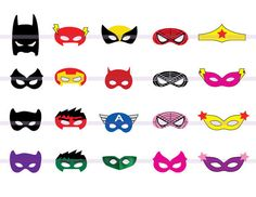 Instand download 20 SUPERHERO Masks CutOut Birthday Party by PishPesh2 / Avengers Batman; also in store: Star Wars, My Little Pony, Disney princesses