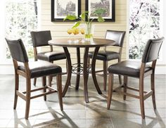 Hillsdale Cameron 5 Piece Counter Height Round Wood Dining Table Set with Parson. - Hillsdale Cameron 5 Piece Counter Height Round Wood Dining Table Set with Parson Chairs – Counter Height Kitchen Table, Bar Height Dining Table, Dining Room Sets, Dining Table In Kitchen, A Table, Round Kitchen, Kitchen Ideas, Wood Counter, Pantry Ideas