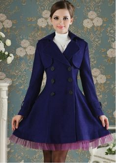 Classical Navy Turndown Collar Coats with Purple Lace with cheap wholesale price, buy Classical Navy Turndown Collar Coats with Purple Lace at wholesaleitonline.com !