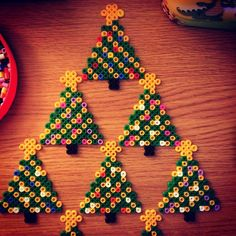 Christmas tree decorations hama beads by prettyprintscl