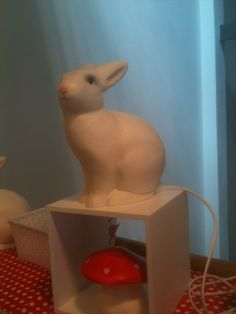 White rabbit and toadstool lights