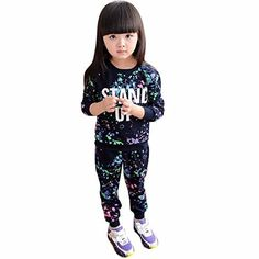 Tenworld Little Girls Outfit Clothes Printed Athletic T-shirt Sweater+Pant Suit (3T, Black) - http://www.exercisejoy.com/tenworld-little-girls-outfit-clothes-printed-athletic-t-shirt-sweaterpant-suit-3t-black/athletic-clothing/