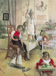 "Carl Larsson's ""Christmas Morning""- would be fun for a kid's play room"