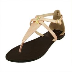 Qupid Women's Athena764 Emboss Leatherette Flat Sandal *** Want to know more, click on the image. #shoes