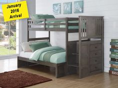 princeton twin over full stairway bunk bed - slate grey in Houston