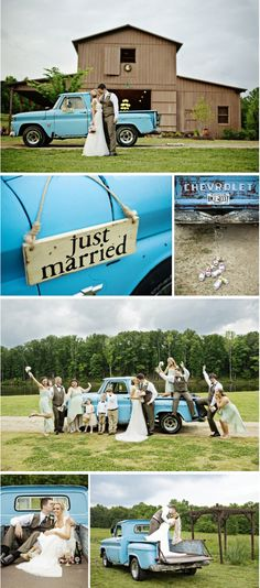 Love the turquoise blue Chevy truck in these photos!  See more of Chase & Megan's barn wedding....