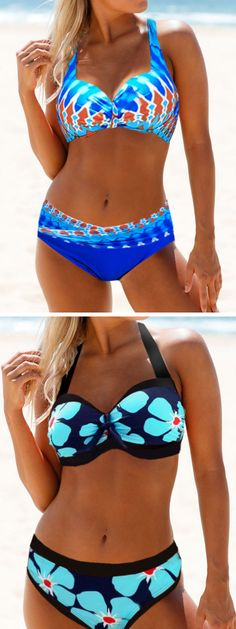 Push-Up Wide Halterneck Solid Bikini Top Bottom Bathers Swimwear Swimsuit Purple